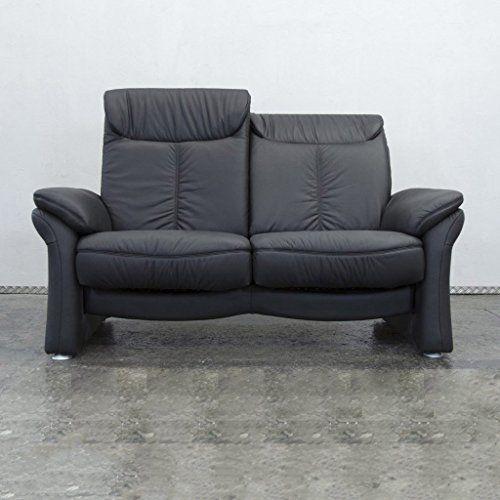 Casada Designer Leder Sofa Schwarz Zweisitzer Couch Funktion