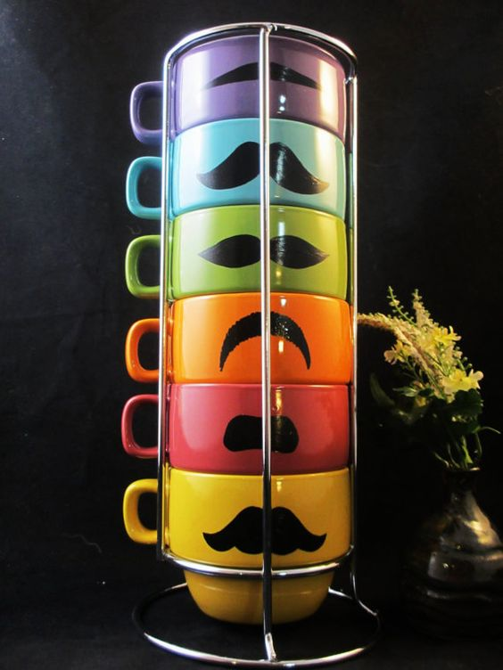 Spring Multi Pastel Color Six Stackable Mustache Mug by kaoriglass, $35.00