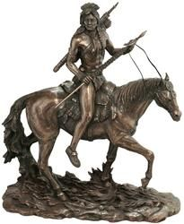 The classic Native American warrior and his muscular steed are depicted with ready spear and leather moccasins in this intricately detailed sculpture. The artist depicts the proud spirit of horse and rider, both alert to whatever lies ahead. Cast in quality designer resin to capture the exquisite detail, this museum-quality work of art is finished in faux bronze. This sculpture is inspired by traditional southwest art but is not an Indian product or the product of a particular Indian tribe…