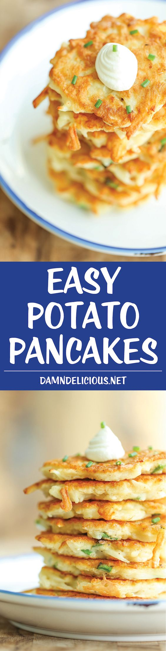 Easy Potato Pancakes Recipe via Damn Delicious - Wonderfully crisp, tender, and just melt-in-your mouth amazing. Can be served as an appetizer, side dish or even a light main dish!