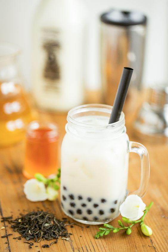 Jasmine Tea Milk Recipe with Honey Boba