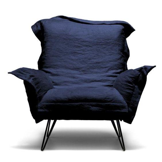 Cloudscape - Chaise avec accoudoirs | Diesel | Fauteuils bleu ou noir - à associé à un canapé Ghost| 2300€