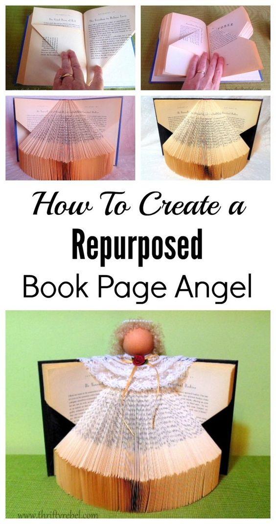 Learn how to create a book page angel. #bookangel #repurposedbook #angel #diyangel #bookpageangel #Christmasangel
