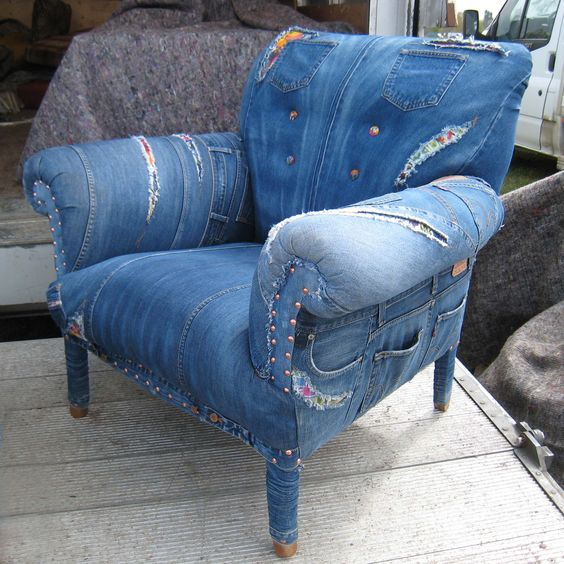 blue jean furniture | love this chair upholstered with blue denim jeans! | furniture redos