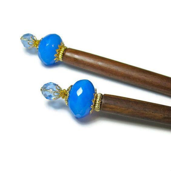Blue Hair Sticks,  Prom Hair Accessories