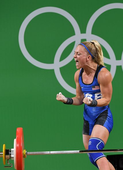 #RIO2016 Best of Day 1 - Morghan King of the US competes in the women's weightlifting 48kg competition during the Rio 2016 Olympic Games at the Riocentro Pavilion on August 6...