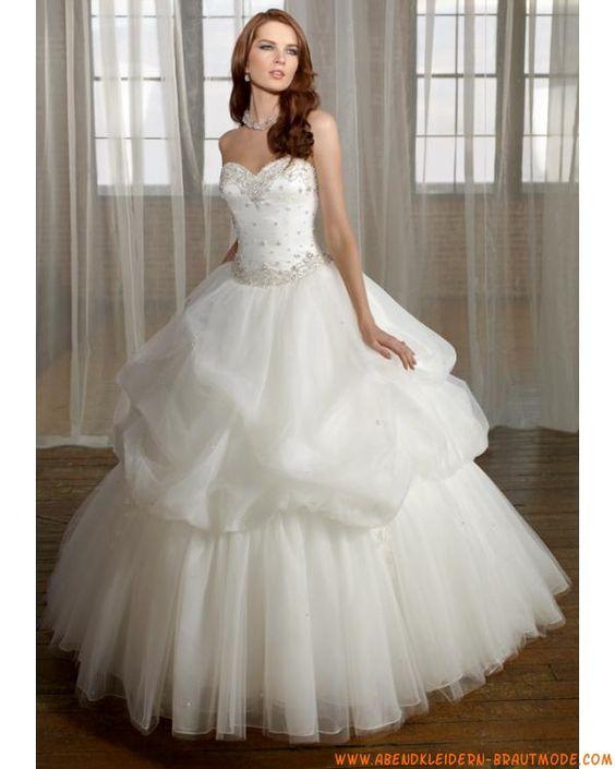 2013 Luxurise Brautmode aus Organza und Satin Ballkleid mit Korsage