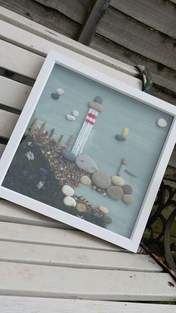 Lighthouse Natural Stone : Pebble art lighthouse framed