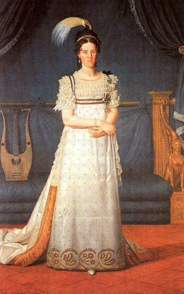 Maria Cristina, Princess of Naples and Sicily, Queen Consort of Sardinia; by Giacomo Berger, c. 1806-1809. Her father was Ferdinand I, King of the Two Sicilies. She was married to Charles Felix, King of Sardinia.
