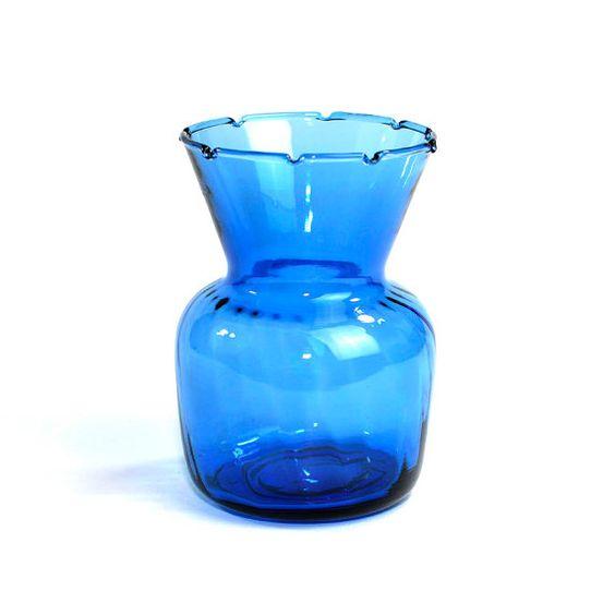 Cobalt Blue Art Glass Vase Unique Divot Ruffle Top Wide