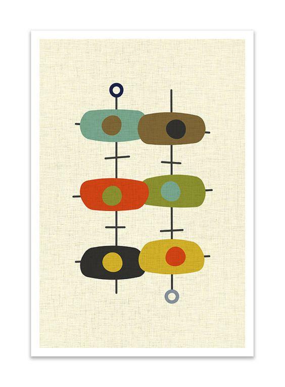TANDEM  Giclee Print  Mid Century Modern Danish Modern by Thedor, $24.00