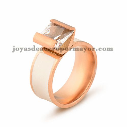 anillo con cristal de oro rosado en acero para mujer-SSRGG16451