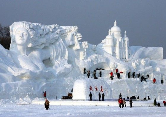 Heilongjiang Province, China. - I know I don't handle cold well but ever since I saw pictures of these amazing sculptures I've want to see this in person someday!!!!