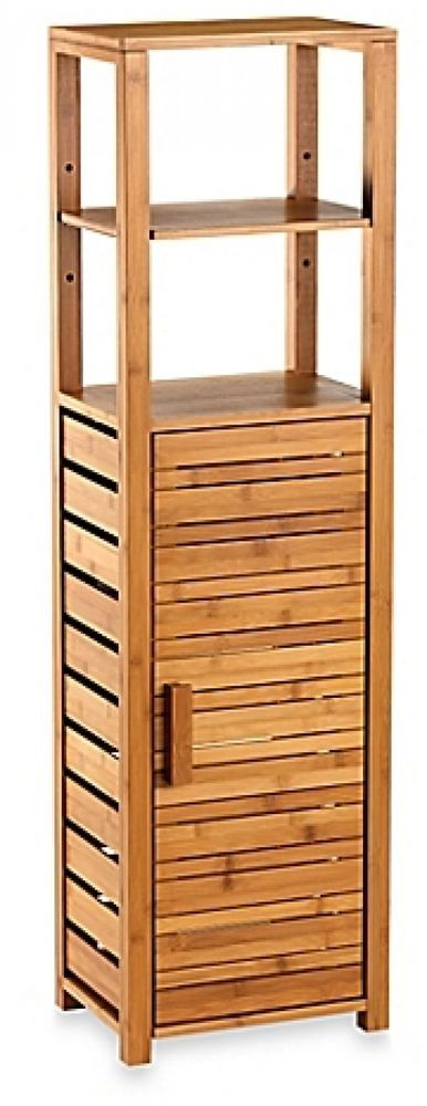 details about bamboo tall floor cabinet bathroom kitchen storage