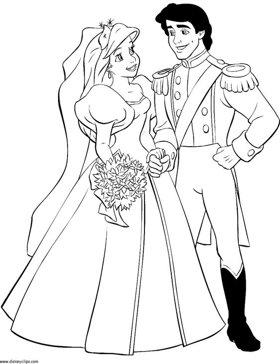 ariel and prince eric wedding coloring page ariel and