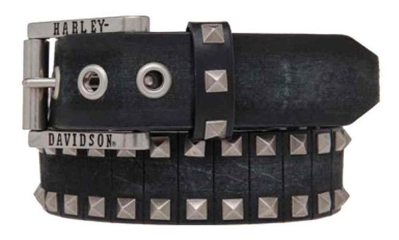Harley-Davidson Men's Road Rash Diamond Studs Leather Belt, HDMBT10845-BLK (38)