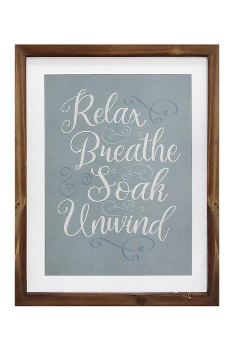 Multi Relax Breathe Soak Unwind Framed Bath Art Bath Art Handcrafted Wall Art Stratton Home Decor