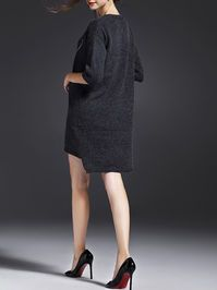 Embroidered Acrylic Sweater Dress