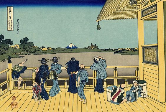 """Sazai Hall - Temple of Five Hundred Rakan"" (五百らかん寺さざゐどう/Gohyaku-rakanji Sazaidō); Sazai hall of Gohyaku Rakan Temple - ""Thirty-six Views of Mount Fuji"" by Hokusai"
