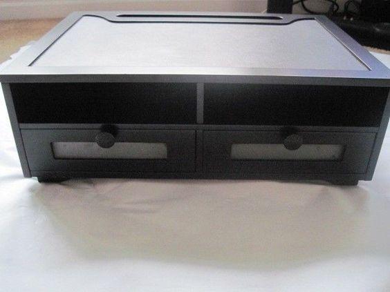 wood printer stand desk organizer drawers shelves. Black Bedroom Furniture Sets. Home Design Ideas