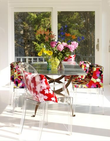 Colors chairs & Lucite Chairs