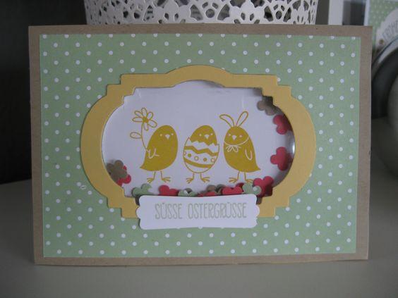 stampin up easter Card Shaker Card with peeps sake Ostern Osterkarte mit dem Stempelset : ei ei ei