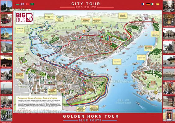 big bus city sightseeing hop on hop off double decker open top coach tour stops bosphorus taksim sqaure fatih Istanbul top tourist attractions map