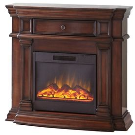 Style Selections 42 In W Sienna Wood Corner Wall Electric Fireplace With Remote Control Living
