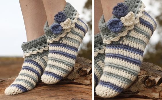 Annabelle crocheted striped slippers   the crochet space