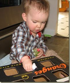Turn a box into a non-shape sorter for littles :)