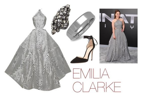 """""""FAVORITE - Emilia Clarke"""" by carolinelaufeyson ❤ liked on Polyvore featuring Rosie Assoulin, Alexis Bittar, Oxford Ivy and Gianvito Rossi"""