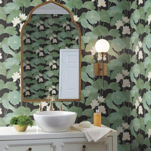 Lily Pads Peel And Stick Wallpaper By York Lelands Wallpaper Bathroom Wallpaper Peel And Stick Wallpaper Green Wallpaper