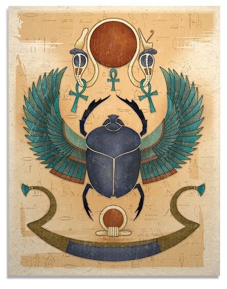 Egyptian Winged Scarab Art Print by TigerHouseArt on Etsy, $14.00
