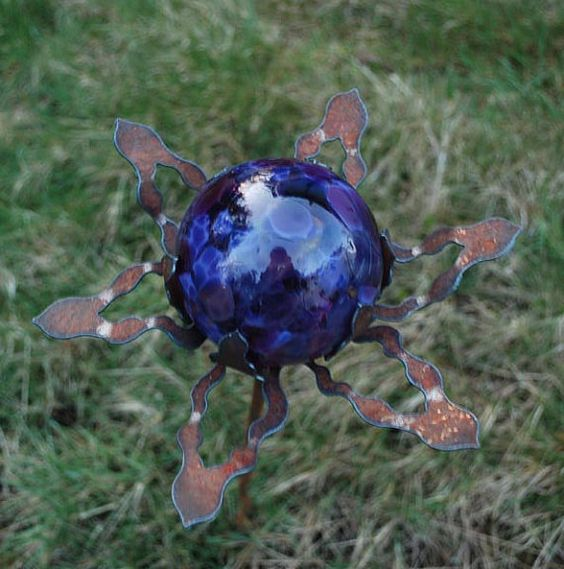 SET Of 3 Garden Glass Ball GARDEN STAKE Metal By Metalgardenart