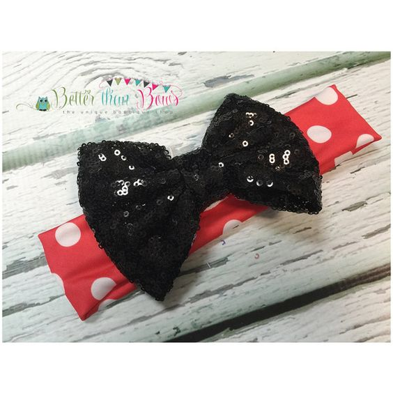Baby Girl Minnie Mouse Hair Bow Messy Bow Minnie Mouse Birthday Black... (€4,34) ❤ liked on Polyvore featuring accessories, grey, hair accessories and headbands & turbans