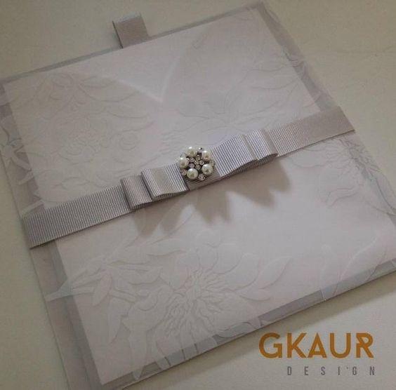 Handmade Grosgrain Silver Ribbon, Patterned Vellum Invitation + Embellishment
