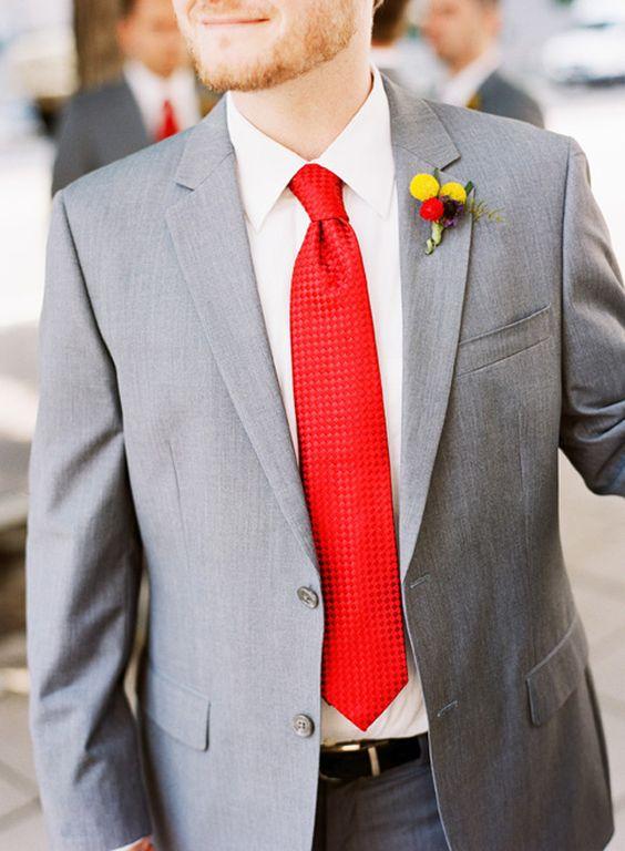 Gray Grooms Attire 275x374 Washington DC Wedding: Kristen + Keiths Mad Men Inspired Purple & Red Ceremony