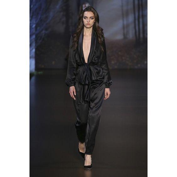 Look 28: Black silk double satin plunge jumpsuit #ralphandrusso #hautecouture #couture #AW15 #autumnwinter #paris #pfw #jumpsuit