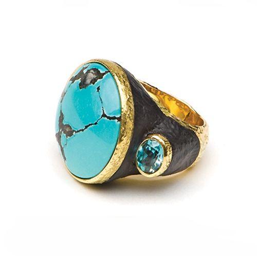 Katy Briscoe. 18ky. Chinese Turquoise, Ebony & Blue Zircon Ring