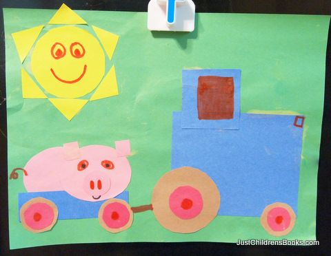 Shape art activity for children's books, Driving My Tractor & Bear in a Square.