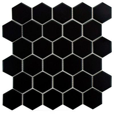 """EliteTile Retro 2"""" x 2"""" Hex Porcelain Mosaic Tile in Matte…"""