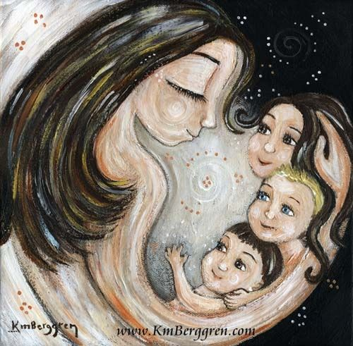 Mother And Three Children Cuddling Closeness Bond Love Of A