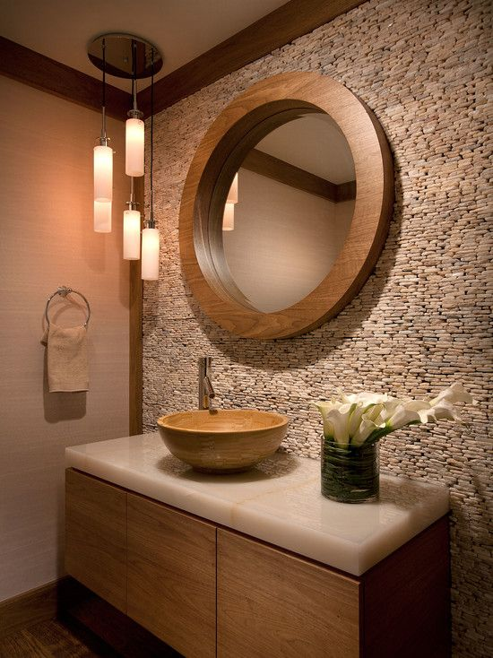 63 Sensational Bathrooms With Natural Stone Walls | Room Decorating Ideas,  Wooden Frames And Powder Room