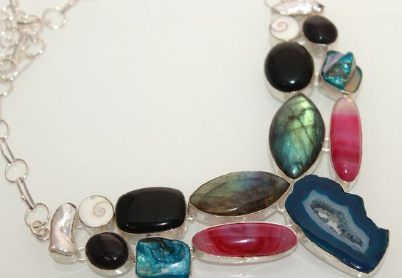 Multi Color Gemstones Beautiful Necklace. Starting at $1