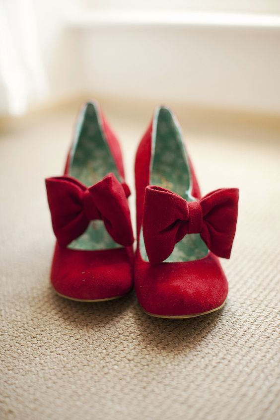 They're red. They have bows. They are Irregular Choice. I like.