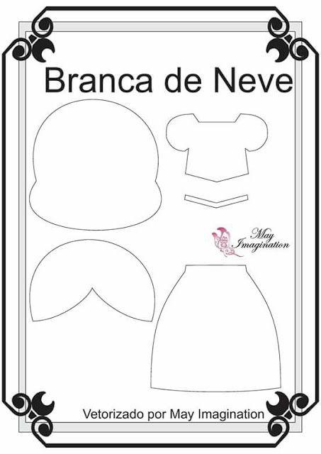 Moldes Princesa da Disney (Blog Amigas do Feltro) Molde Branca de Neve feltro