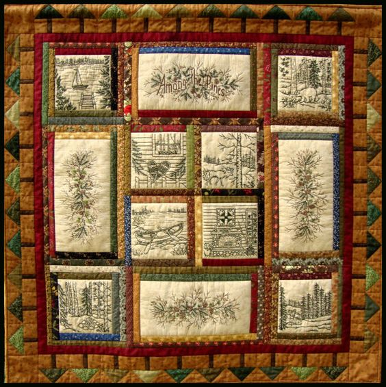 Among the Pines Quilt Pattern - 10 Hand Embroidery Blocks, Label & Quilt Finishing Pattern - by ...