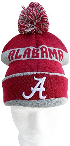 NCAA Alabama Crimson Tide Cuffed Pom Pom Knit Hat, One Size, Crimson