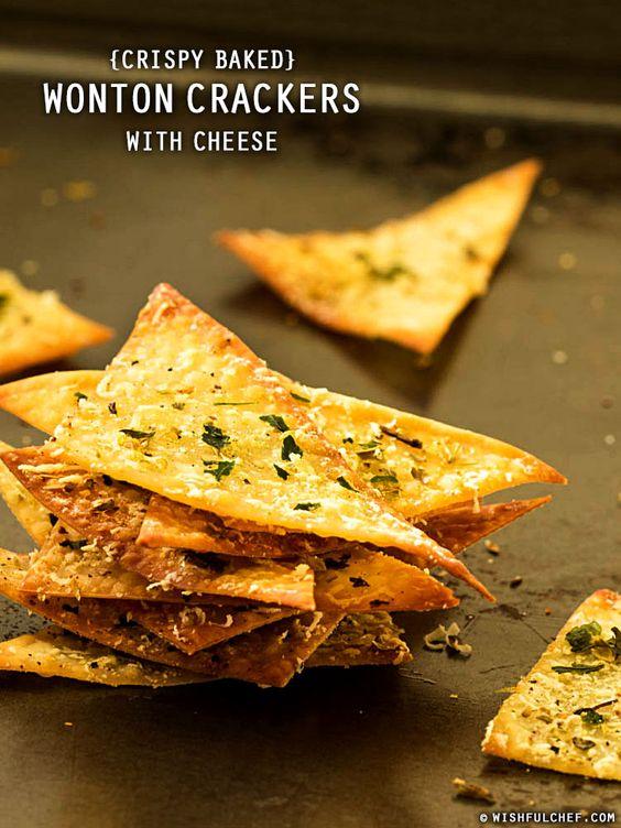Crispy Baked Wonton Crackers with Cheese // wishfulchef.com