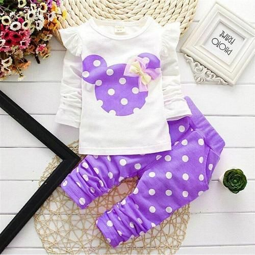 2pcs Kids Baby Girl Cartoon Mouse Bow T-Shirt Tops+Long Pants Clothes Set Outfit